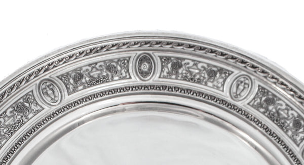 925 AMERICAN STERLING SILVER HANDMADE CHASED WEDGEWOOD PATTERNED ROUND TRAY