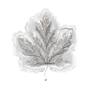 925 STERLING SILVER HAND CHASED INTRICATE LEAF DESIGNED DISH