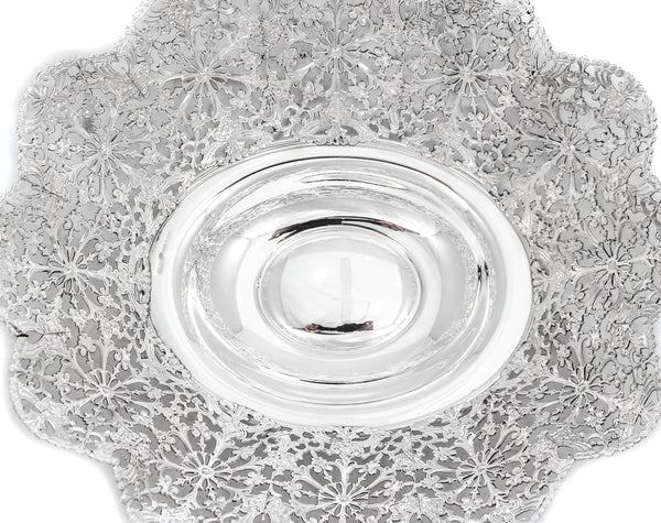 FINE ITALIAN STERLING SILVER HANDCRAFTED SNOWFLAKE CUT OUT PATTERN OVAL BASKET