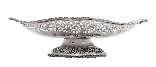 925 STERLING SILVER HANDCRAFTED OPEN LACE SWIRL SHINY DISH CENTERPIECE