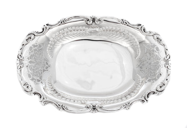 ANTIQUE 925 STERLING SILVER HAND CHASED CUT OUT FLORAL DESIGNED OVAL DISH