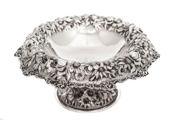 925 ANTIQUE STERLING SILVER CHASED ORNATE REPOSSE DESIGN PEDESTAL ROUND DISH