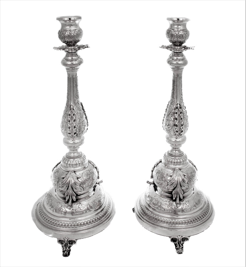 ITALIAN 925 STERLING SILVER HANDCRAFTED INTRICATE LEAF ORNATE CANDLESTICKS