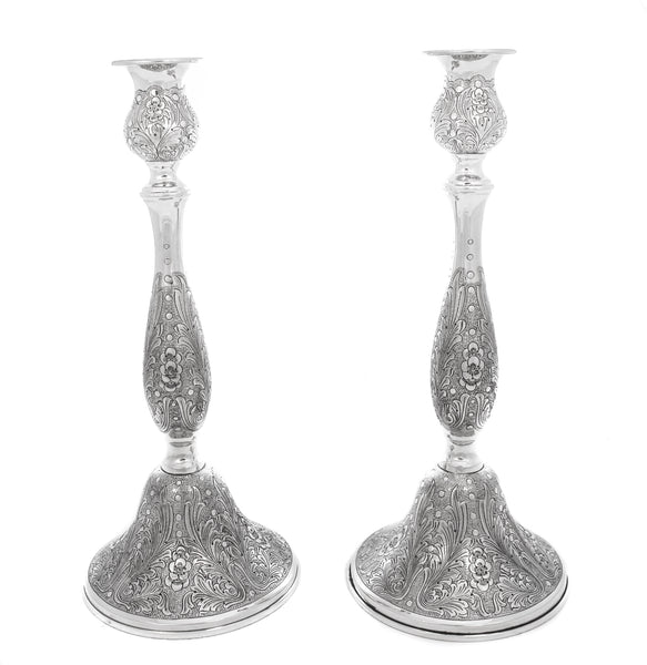 ITALIAN 925 STERLING SILVER CHASED GARLAND & FLORAL DESIGN ROUND CANDLESTICKS