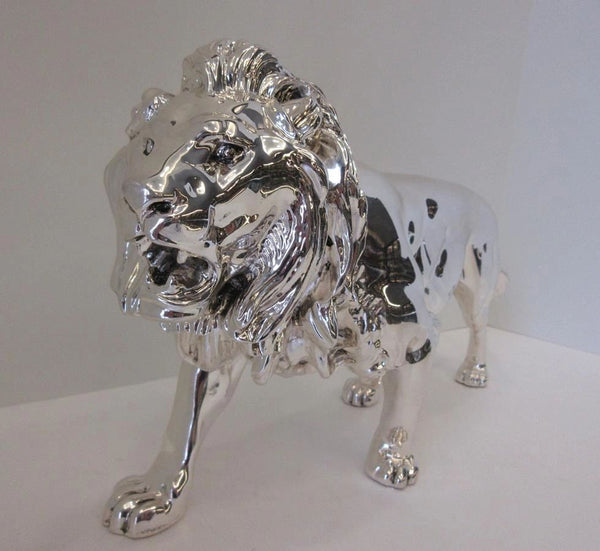 FINE ITALIAN SILVER PLATED HANDCRAFTED DETAILED FIERCE LION KING FIGURINE