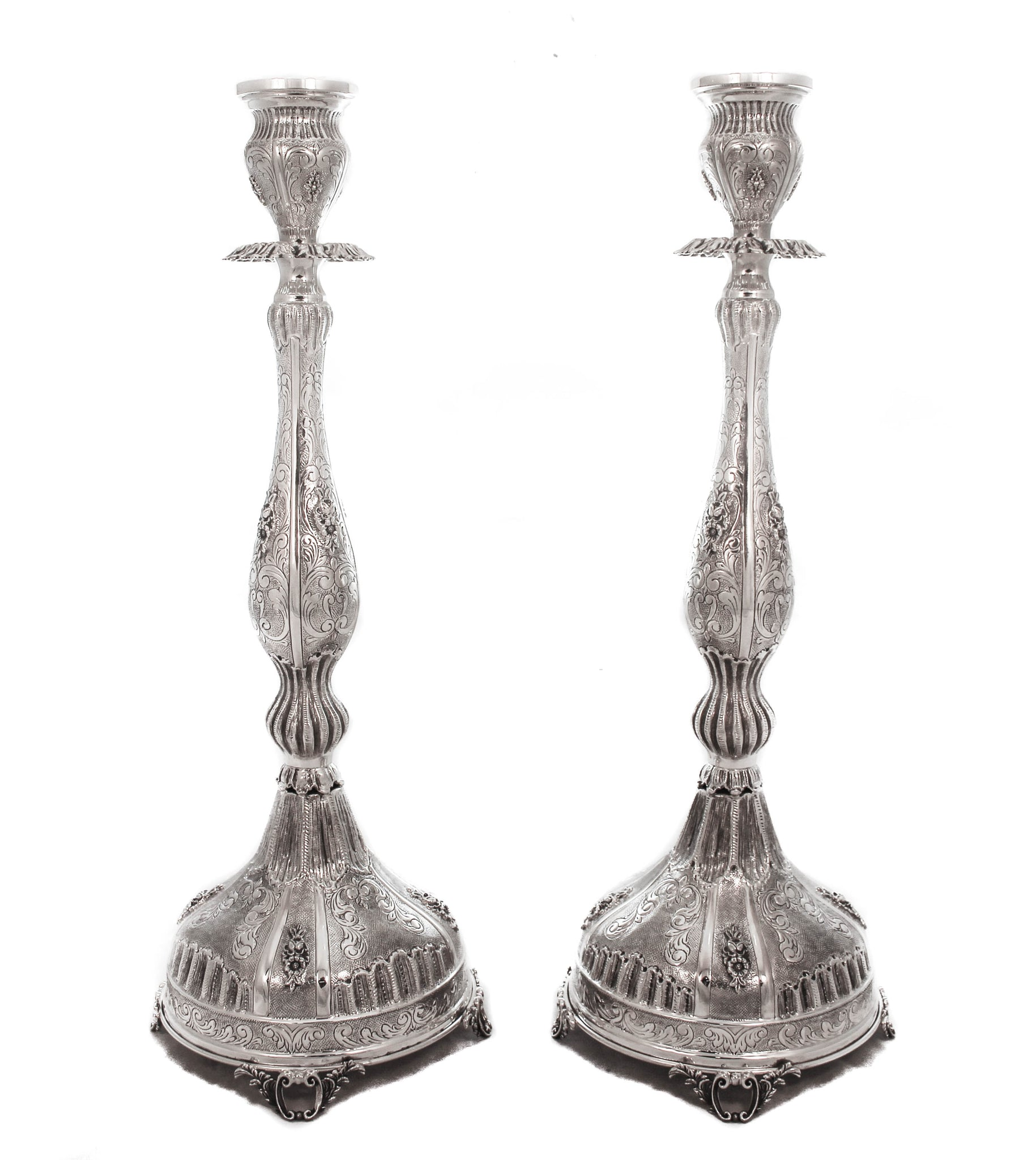 FINE 925 STERLING SILVER CHASED FLOWER ORNATE SWIRL CANDLESTICKS