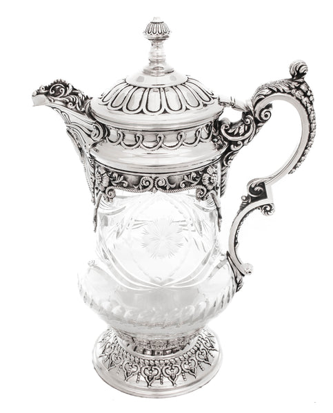 PORTUGUES CRYSTAL & .925 STERLING SILVER WATER PITCHER
