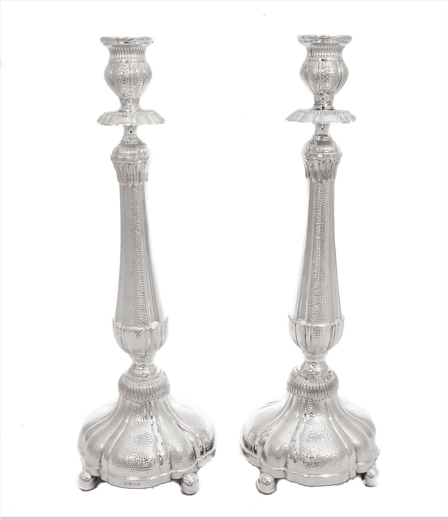 FINE 925 STERLING SILVER HAND WROUGHT GLOSSY HAMMERED ROUNDED CANDLESTICKS