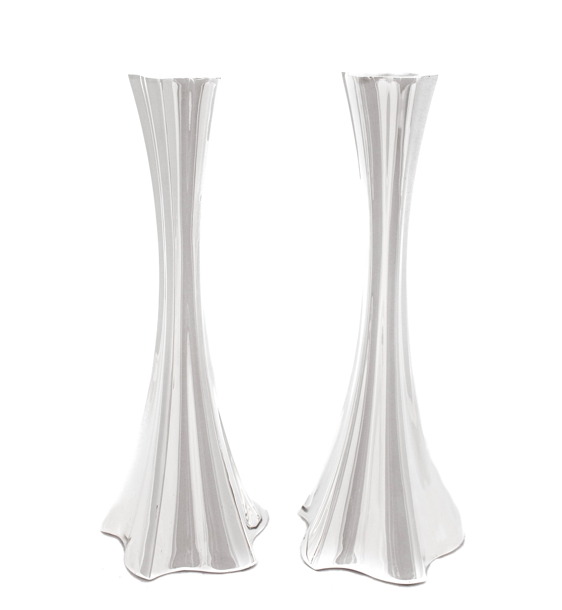 FINE 925 STERLING SILVER VALENCIA CHASED SLEEK MODERN CONTEMPORARY CANDLESTICKS