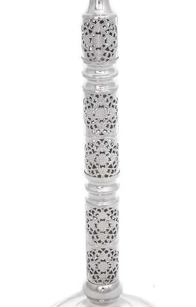 ITALIAN 925 STERLING SILVER HANDMADE OPEN FILIGREE LACE TALL ROUND CANDLESTICKS