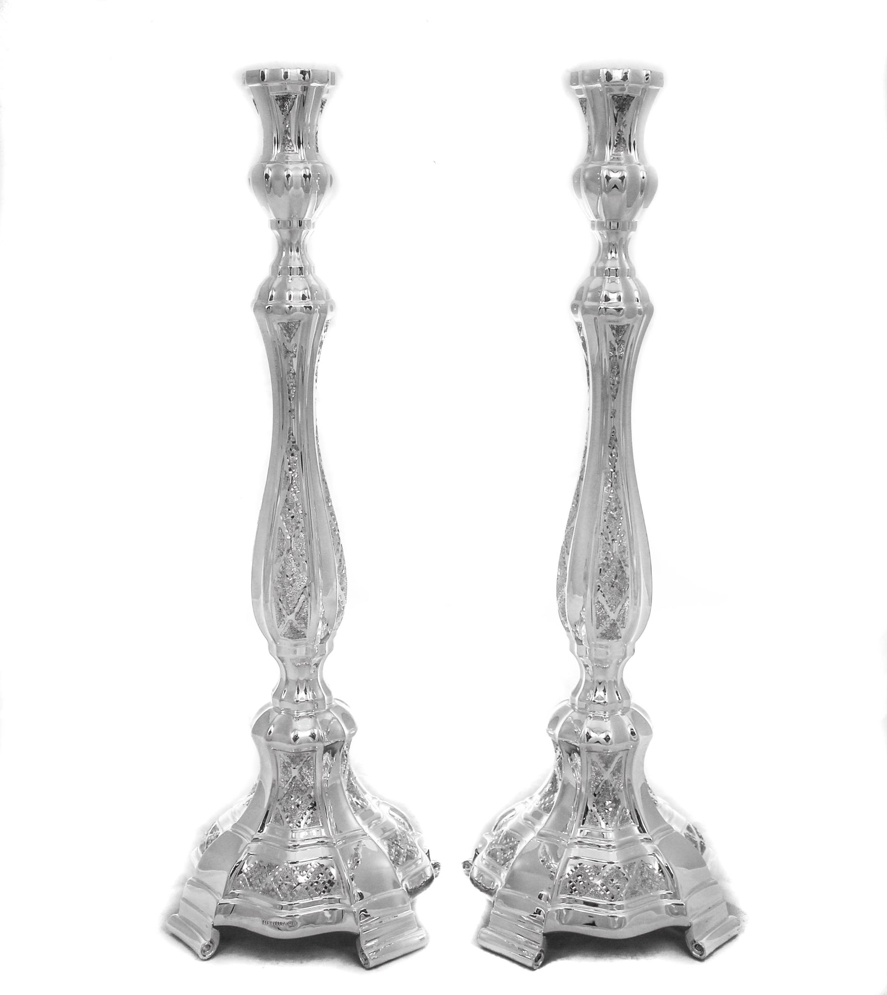 FINE 925 STERLING SILVER HANDCRAFTED SHINY SLEEK DIAMOND CUT ROUND CANDLESTICKS