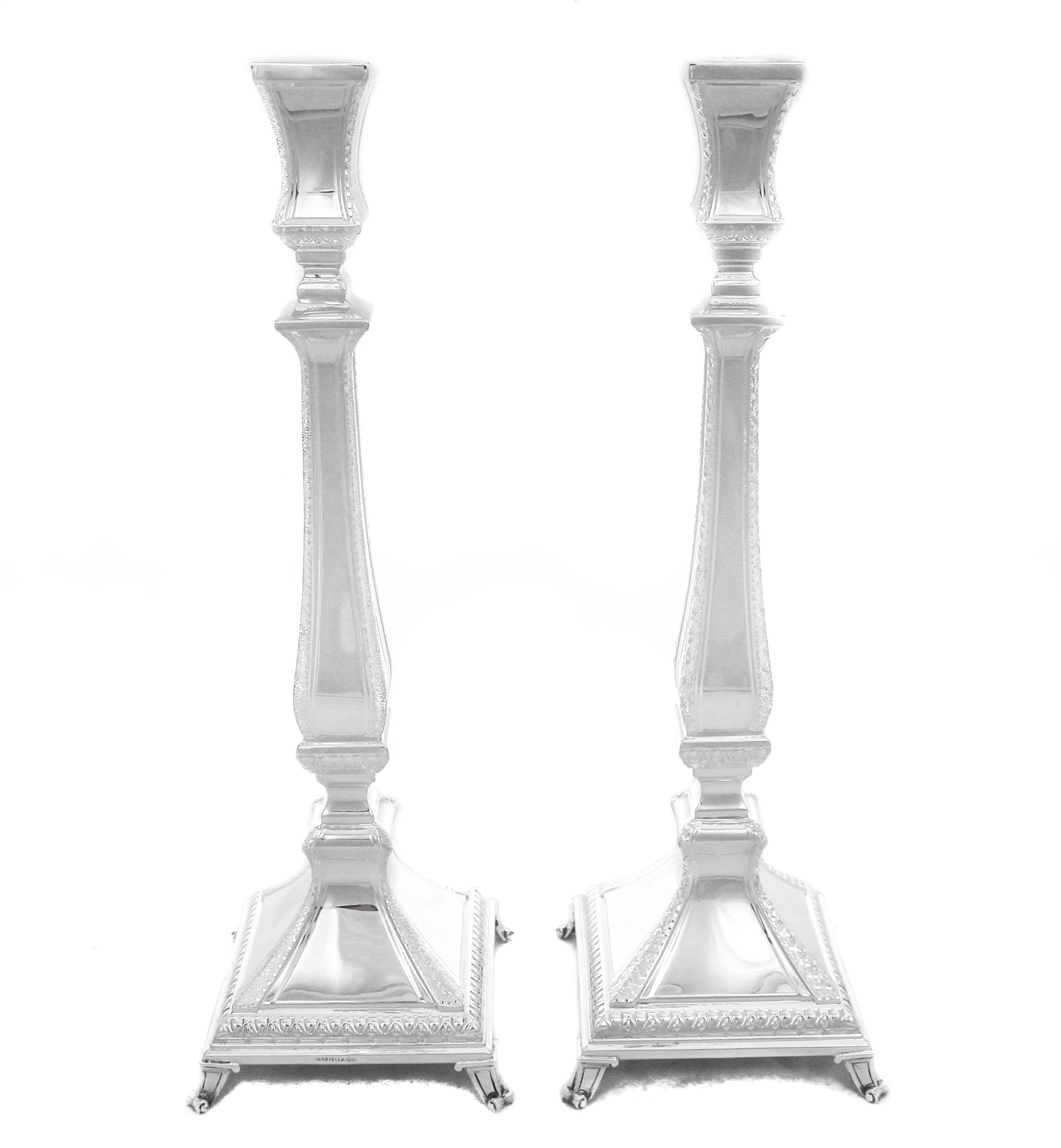 FINE 925 STERLING SILVER LIONI CHASED DIAMOND CUT TRIM SQUARE CANDLESTICKS