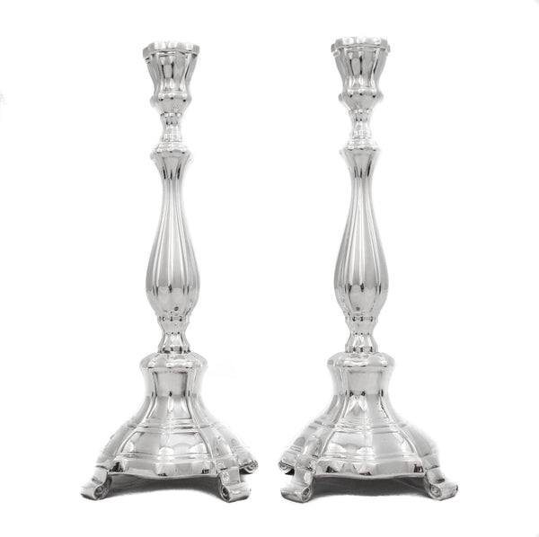FINE 925 STERLING SILVER SMALL CHASED SLEEK MODERN CONTEMPORARY MINI CANDLESTICKS