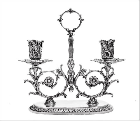 ITALIAN LARGE 925 STERLING SILVER HANDCRAFTED ORNATE 2 LIGHT CANDELABRA