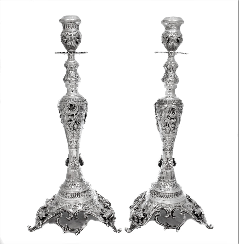 925 STERLING SILVER HANDMADE CHASED GARLAND DESIGN LEAF APPLIQUE CANDLESTICKS