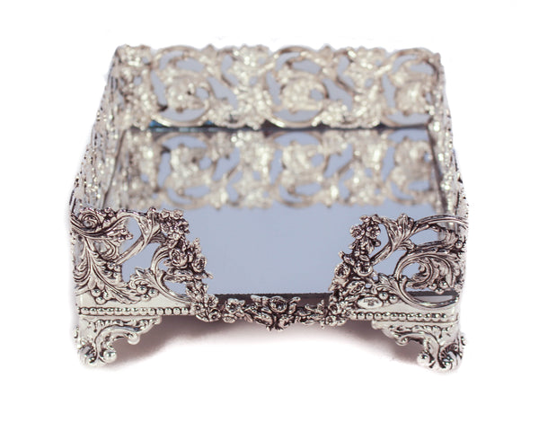 925 STERLING SILVER HANDCRAFTED LEAF & FLORAL MIRRORED SQUARE FLAT NAPKIN HOLDER