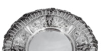 925 STERLING SILVER HANDMADE CHASED LEAF APPLIQUES ROUND PLATE TRAY