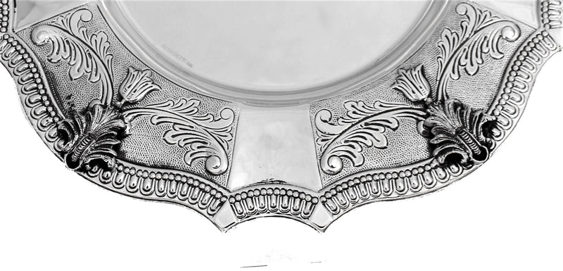 FINE 925 STERLING SILVER HANDMADE SWIRL CHASED LEAF APPLIQUE ROUND BALAGIO PLATE