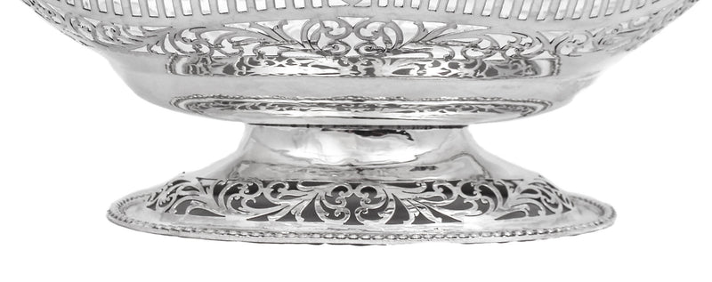 925 STERLING SILVER HAND MADE SHINY PIERCED SHELL LEAF ORNATE CENTERPIECE