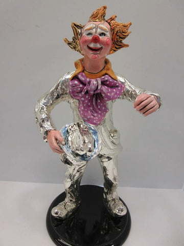 ITALIAN SILVER PLATED & ENAMEL HANDCRAFTED DUCK MAGICIAN CLOWN FIGURINE