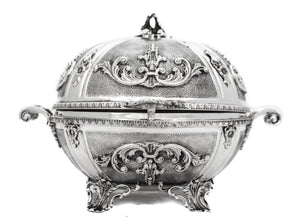 FINE 925 STERLING SILVER ORNATE SHINY & MATTE ELEGENT CARRIAGE ESROG JEWELRY BOX