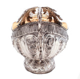 925 STERLING SILVER HAND CHASED FLORAL ORNATE FRUIT BOWL CENTERPIECE