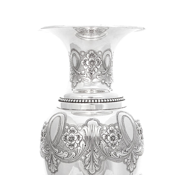 925 STERLING SILVER ITALIAN HANDCRAFTED FLORAL CHASED GLOSSY TALL FLOWER VASE