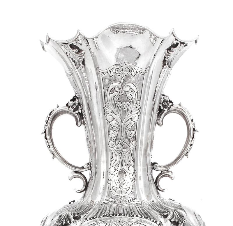 925 STERLING SILVER HAND CHASED & APPLIQUES FLOWER VASE WITH HANDLES