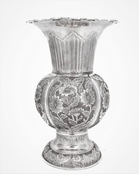 ITALIAN 925 STERLING SILVER HANDCRAFTED ORNATE EMBOSSED ROUND FLOWER VASE