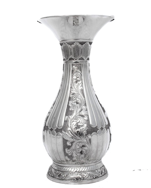 ITALIAN 925 STERLING SILVER HANDCRAFTED ORNATE FLUTED SWIRL GLOSSY FLOWER VASE