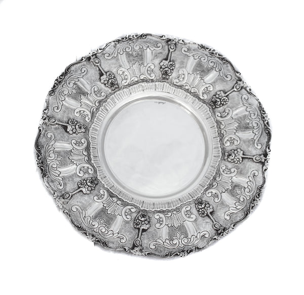 925 STERLING SILVER HAND EMBOSSED WITH FLORAL APPLIQUE ROUND PLATE TRAY
