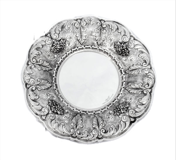 925 STERLING SILVER HANDMADE LEAF APPLIQUES & GARLAND DESIGN ROUND TRAY