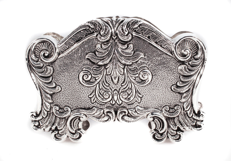 STERLING SILVER FINE CHAISED LEAF & GARLAND DESIGNED NAPKIN HOLDER