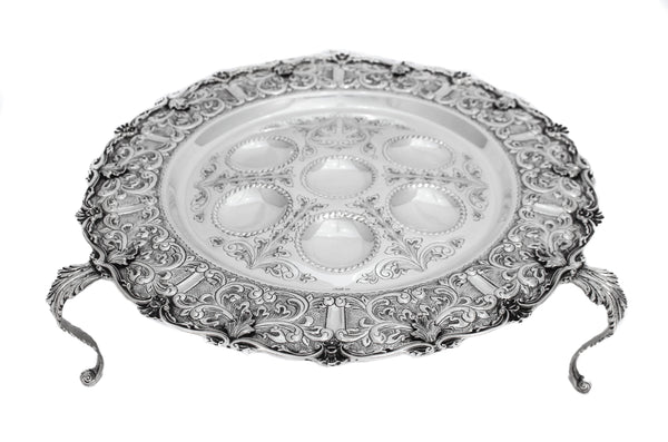 925 STERLING SILVER ORNATE CHASED LEAF APPLIQUES MATTE STANDING SEDER PLATE
