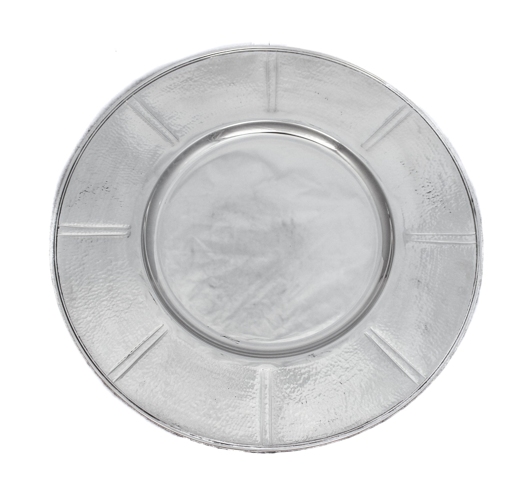 ITALIAN 925 STERLING SILVER ROUND MODERN SLEEK HAMMERED TRAY