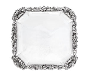 ITALIAN 925 STERLING SILVER HAND CRAFTED HEAVY SHELL & LEAF ORNATE SQUARE TRAY