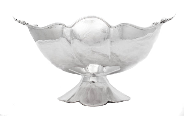 FINE ITALIAN 925 STERLING SILVER MODERN SHINY WAVY LEAF ORNATE CENTERPIECE