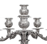 ITALIAN 925 STERLING SILVER HANDCRAFTED ORNATE SQUARE BASE SIX LIGHT CANDELABRA