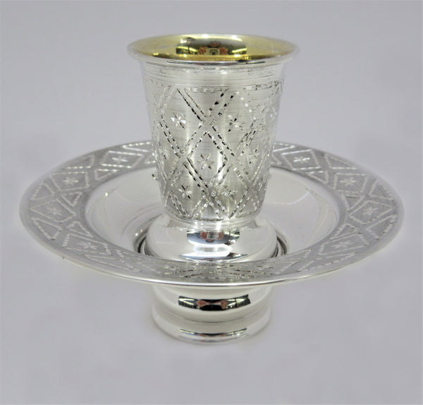 925 STERLING SILVER HANDMADE DIAMOND CUT SHINY SLEEK MAYIM ACHRUNIM CUP & BOWL