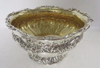 FINE ANTIQUE 925 STERLING SILVER & GOLD PLATED SHINY CHASED BOWL DISH