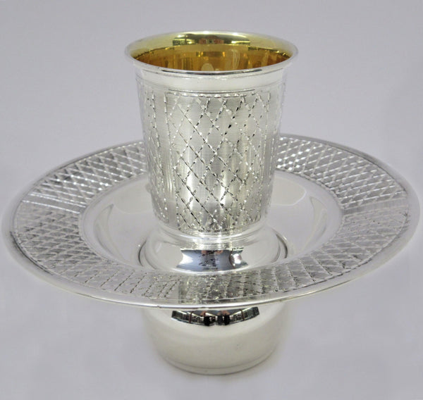 FINE 925 STERLING SILVER HANDMADE DIAMOND CUT ORNATE MAYIM ACHRUNIM CUP & BOWL