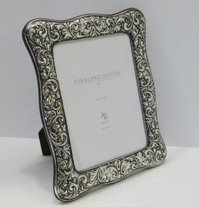 FINE ITALIAN 925 STERLING SILVER HAND EMBOSSED LEAF SWIRL 7 X 9 PICTURE FRAME