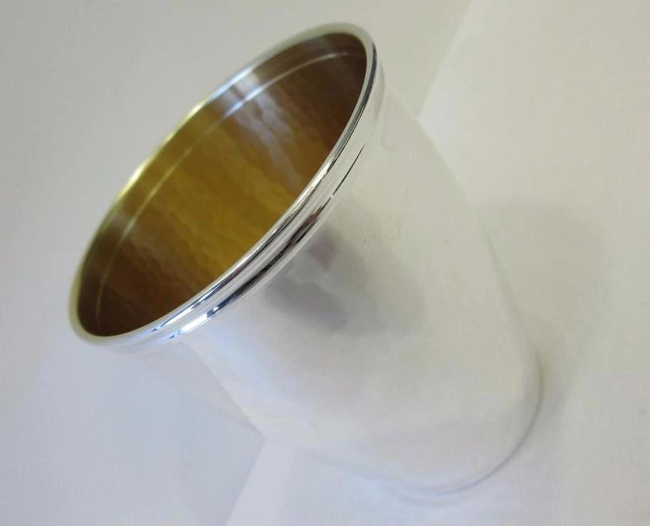 FINE 925 STERLING SILVER & GOLD PLATED HANDCRAFTED MODERN LIGHTLY HAMMERED CUP