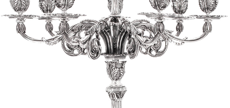 ITALIAN 925 STERLING SILVER HANDCRAFTED HEAVY ORNATE 8 LIGHT CANDELABRA