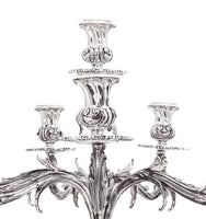 FINE ITALIAN 925 STERLING SILVER FLORAL TRIANGLE BASE 8 LIGHT CANDELABRA