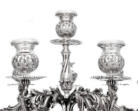 ITALIAN 925 STERLING SILVER HANDCRAFTED SHELL DESIGN TEN LIGHT SQUARE CANDELABRA