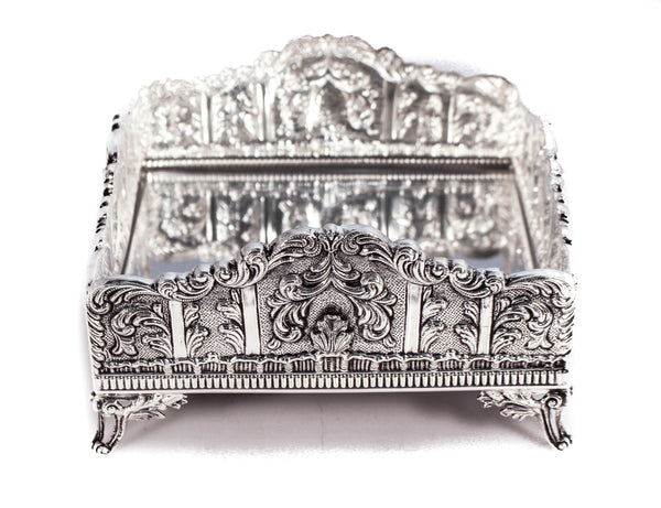 STERLING SILVER LEAF & GARLAND DESIGNED MIRRORED SQUARE FLAT NAPKIN HOLDER