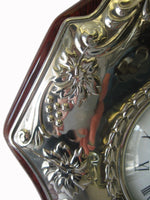 FINE ITALIAN SILVER LAMINATE & WOOD FLORAL GRAPE ORNATE GRANDFATHER CLOCK