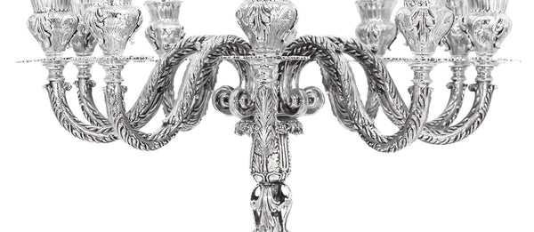 925 STERLING SILVER HAND CHASED ORNATE LEAF APPLIQUE ELEVEN LIGHT CANDELABRA
