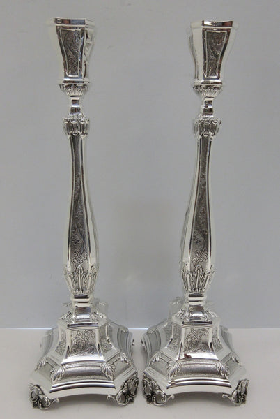 FINE 925 STERLING SILVER HAND WROUGHT CHASED SWIRL LEAF APPLIQUE CANDLESTICKS